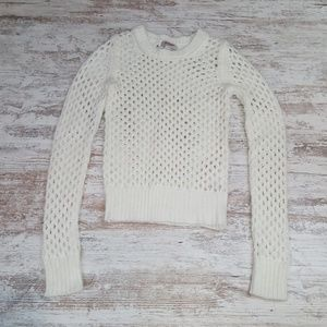White Soft Long Sleeve Knit Top Cover Up